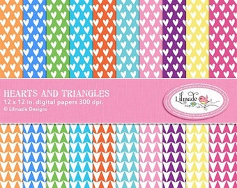 65%OFF SALE Hearts and triangles digital papers, scrapbook papers, patterned papers, rainbow papers, digital scrapbook, commercial use, inst