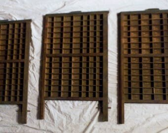 Lot of 3 Vintage Printer's Letterpress Type Tray Drawer Shadow Boxes w 98 Compartments in V GOOD Condition