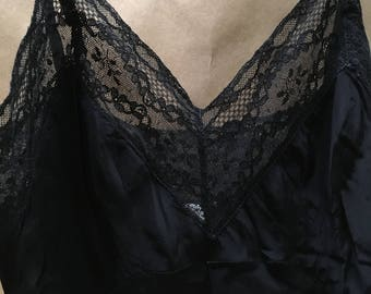 Noel 8 Gore Full Slip--Forties--Size Small--Rare--Hollywood Glamour Look with Black Lace