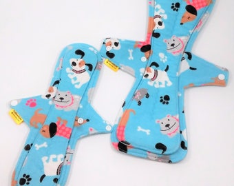 "Postpartum Cloth Pad Set,12"" Cloth Pad, 15"" Cloth Pad,Cloth Pad Starter Set,Moderate To Heavy Flow,, Flannel Top Cloth Pad,Fleece Backing"