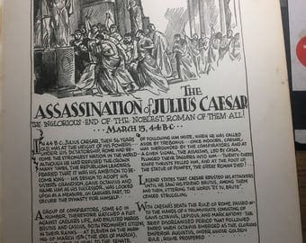The assasination of Julius Cesar. 1933 book page removed ftom a damaged book. Art  history