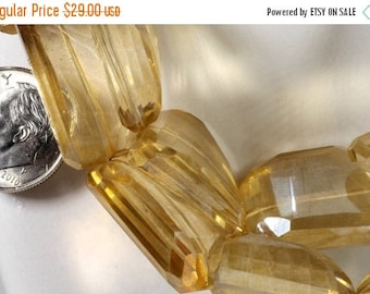 ON SALE Mystic Pale Golden Quartz Nuggets Step Faceted Center Drilled Earth Mined Gemstone - 4 Inches - 5 or 6 Beads - 14x20 to 21x15mm