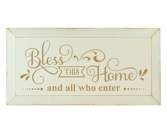Bless This Home And All Who Enter Carved Wood Sign With Beveled Edge 10x20