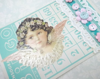 Guardian Angel Bingo Game Card Buttons Lace Trims Aqua Theme Decorations Vintage Inspired Handmade Keepsake