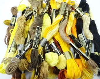 Shades of Yellow Brown Estate Lot Variety Colors Vintage Embroidery Floss Thread Sewing Craft Notions Skeins (36) Each