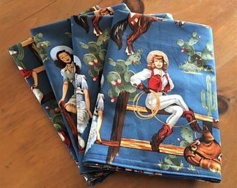 Cowgirl with Blue Background w/Guns & Horses Reusable Cloth Napkins Set of 4 Double Sided 100% Cotton Eco Friendly Large 20 x 20
