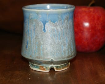 Shot Glass / Ceramic Cup / Porcelain Cup/ Ice Blue, Silver Streaks and Lines