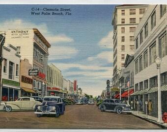 Clematis Street Cars West Palm Beach Florida linen postcard