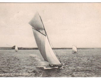 Sloop Yacht Yachting Greetings from Atlantic City New Jersey 1908 postcard