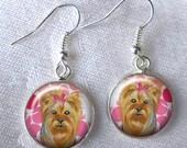 Yorkie Dangle Earrings ~ DogJewelry ~ Yorkie Lover Gift ~ Girlfriend Gift ~ Pet Keepsake