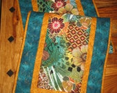Reserved for Margo-Quilted Table Runner, Abstract Contemporary Retro Flowers, 100% cotton fabrics Reversible