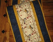 """Mountain Chickadees Quilted Table Runner, 13x48"""", Reversible, Birds Branches Berries Winter Spring Buffet Coffee Dining Table Decor Handmade"""