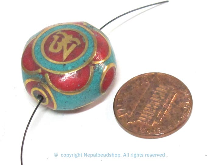 1 BEAD - Ethnic Tibetan om prayer bead with turquoise coral inlay 23 - 24 mm wide - BD567B