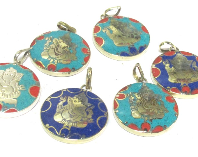 6 mix pendants lot  - Tibetan silver color round shape Ganesha prayer pendants from Nepal with turquoise coral lapis mix inlays - PM608C