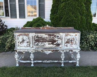 Antique chippy buffet white grey wood