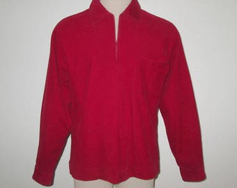 Vintage 1950s 1960s Corduroy Shirt / 50s 60s Red Corduroy Shirt With Zippered Neck By Puritan - Size M