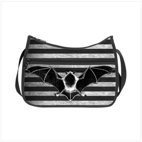 Bat Striped Hobo Bag