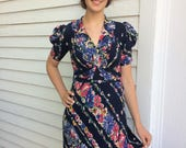 30s Blue Floral Print Dress Long Gown S XS AS IS