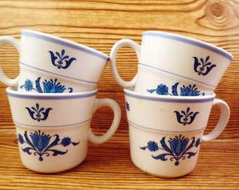 4 Noritake Progression China BLUE HAVEN Coffee Cups White Vintage