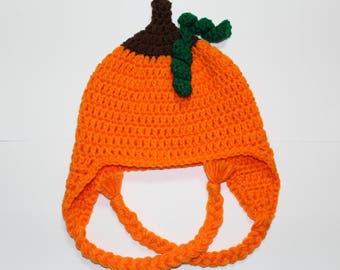 Child size Crochet Pumpkin Earflap Hat with Briads, Kids Autumn Hat, Children's Pumpkin Hat, Ages 4-10