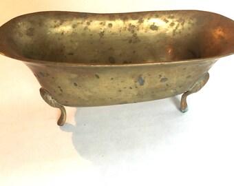 Vintage Brass Bath Tub Soap Dish
