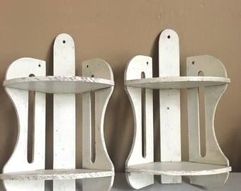 Pair of Vintage Wooden Shelves