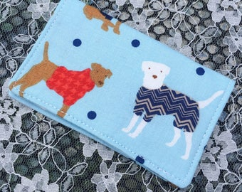 Gift Card Holder, Credit Card Wallet, Business Card Holder - Dog Doggo Sweater Puppies