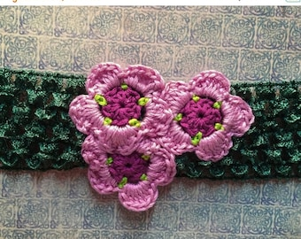 ON SALE 50% OFF Crocheted Flower Headband - Pink Flower Headband - Adult or Child Floral Headband