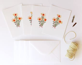 Leucadendron Illustrated 4 Pack - A6 Flora Postcards With Envelopes