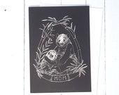 Panda Mom and Baby Panda Black and White Greeting Card 5x7 and Envelope