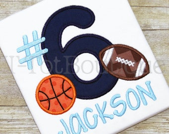 SALE - Football and Basketball Sports Birthday Embroidered Shirt for Boy or Girl - Your Favorite Team's Colors - FREE Personalization