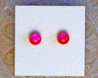 Dichroic Glass Earrings, Petite, Red Violet  DGE-1211