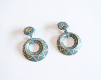 Vintage HANDPAINTED wood earrings