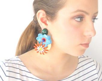 Party Earrings Clip earrings, Big bold Statement Earring, Colorful Flowers light weight earrings, Unique Women's Oversize Jewelry