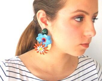 Party Earrings Clip earrings, Big bold Statement Earring, Colorful Flowers earrings, Unique Women's Oversize Jewelry Designer's Earrings