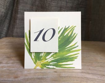 Fan Palm Table Number Tents - for Events, Weddings, Parties, Showers, Graduations.