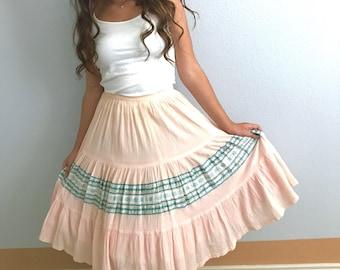 50s Western Fiesta Square Dance Skirt, Patio Squaw, Tiny Pleats, Rick-Rack, Vintage Rockabilly Swing
