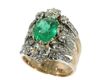 ON SALE Victorian emerald and diamond ring 18k rose gold natural emerald 3.50 carat surrounded old European cut diamonds 3.08 carat circa 18