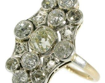 Art Deco diamond engagement ring 14k rose gold old European cut diamond 2.01ct rose cut diamonds vintage 1920s ring