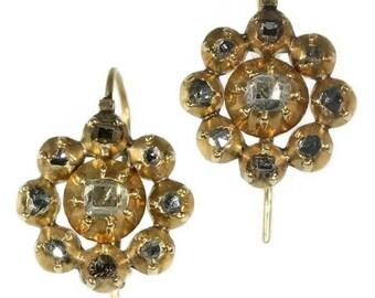 Antique Georgian drop earrings with table cut diamonds  18k yellow gold 18th Century jewellery