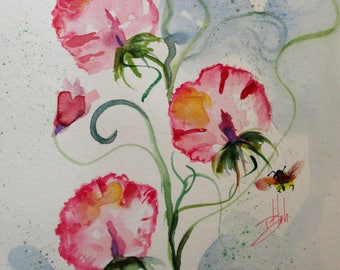 Sweet Peas with bees original 12x9 floral watercolor painting Art by Delilah