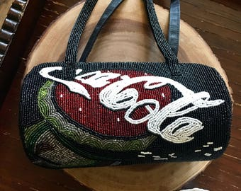 Vintage Beaded Coca Cola Purse / Beaded Handbag / Coca Cola Collectable