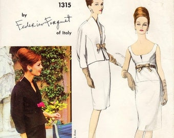 On Sale Vintage 1960's Vogue Dress Pattern 1315 by FEDERICO FORQUET - Misses' One-Piece Dress and Jacket - Scoop Front/Square Back - SZ 12/B