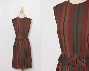 25% OFF 1960s striped dress with belt