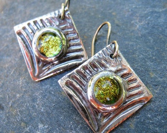 Dichroic Glass Earrings, Golden Green Glass Earrings, Fine Silver Square Earrings, Textured Dangle Earrings, Silver dangle earrings, ON SALE