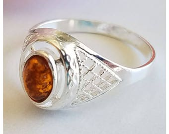 Amber Ring - Sterling Silver Ring - Baltic Amber ring - Amber Jewelry - Genuine Amber Ring - Real Amber ring - Sterling Silver - Free S/h