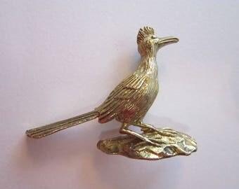 vintage ROADRUNNER brooch - gold tone, southwest bird brooch - figural road runner brooch