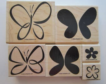 6 rubber stamps - BOLD BUTTERFLY - Stampin Up 2004 - used rubber stamps