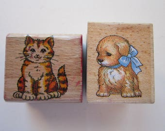 2 rubber stamp - puppy and kitten - used rubber stamps