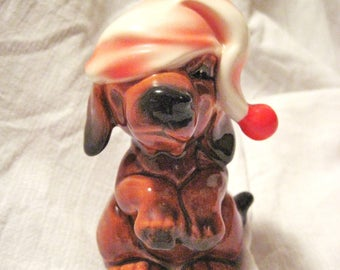 Rare Vintage Goebel Dachsund puppy with Santa/sleeping hat-mint-sale
